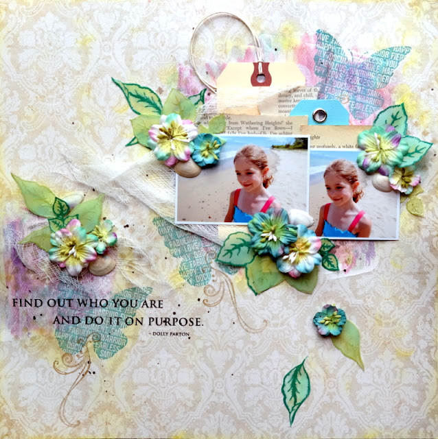 Mixed Media Beach Layout with Stamped Vellum Leaves