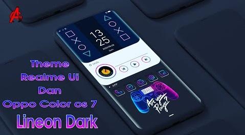 Download Theme Lineon Dark for Realme ui dan Oppo Color Os 7