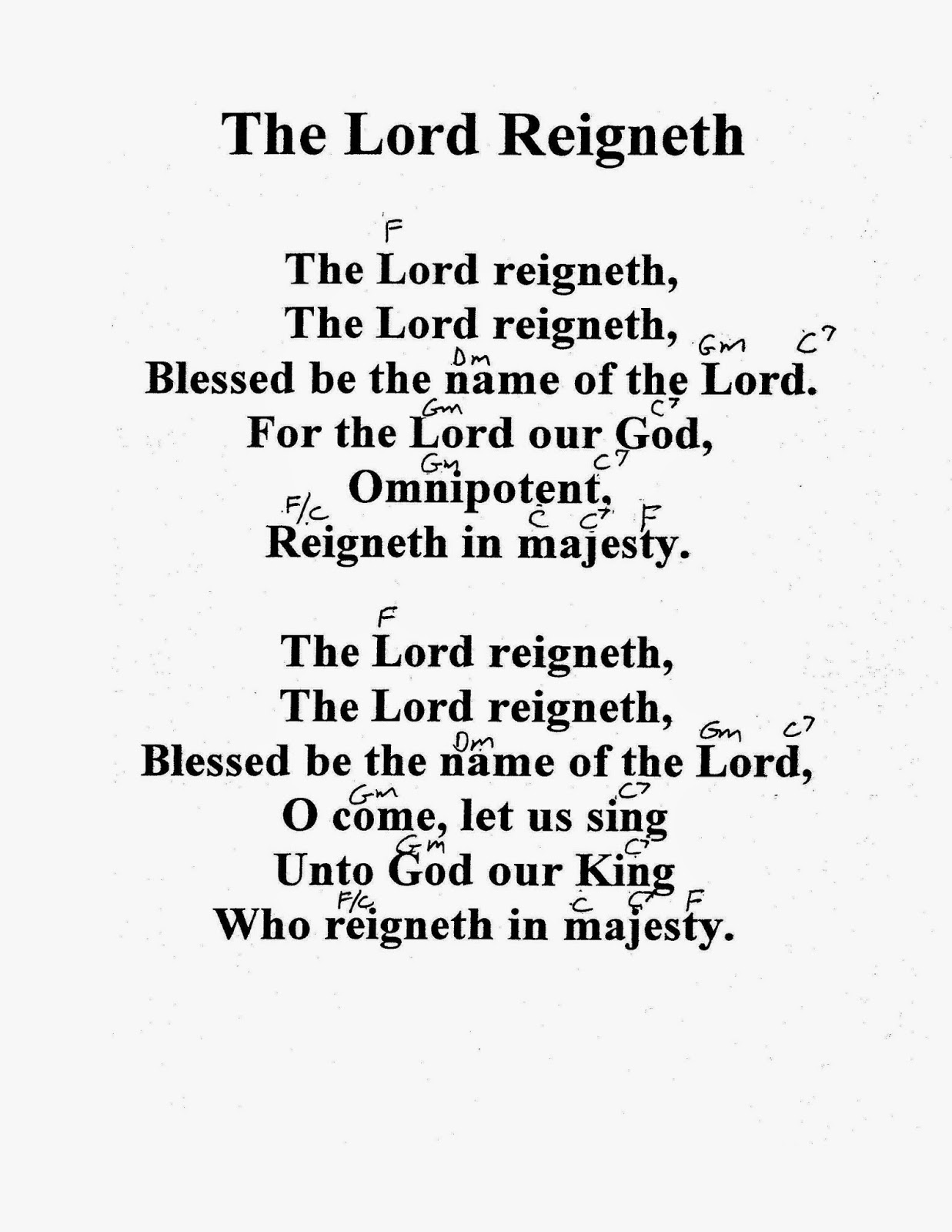 Worship Lead Sheets: The Lord Reigneth