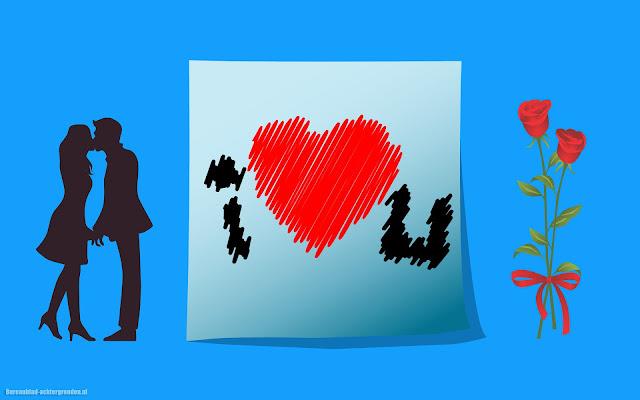 Blauwe achtergrond over liefde met een liefdes hartje