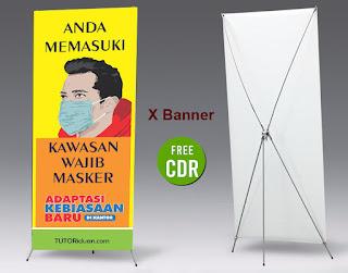 Free Desain X Banner Wajib Pakai Masker