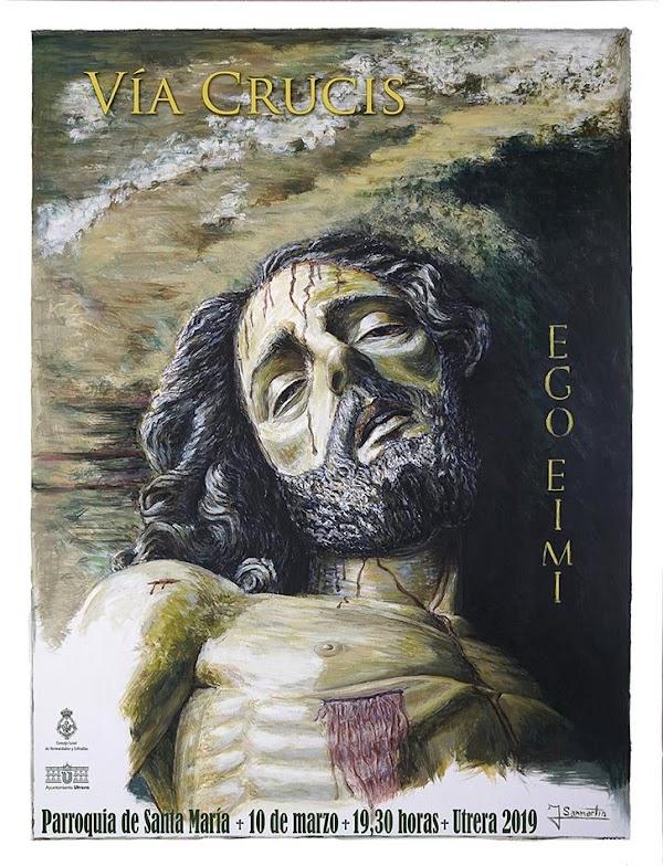 Cartel del Vía Crucis del Consejo de Hermandades y Cofradías de Utrera, presidido por nuestro Santísimo Cristo Yacente.