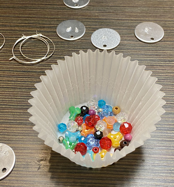 Beads in paper cupcake liner