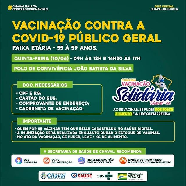 Chaval inicia hoje vacinação ao público geral contra Covid-19