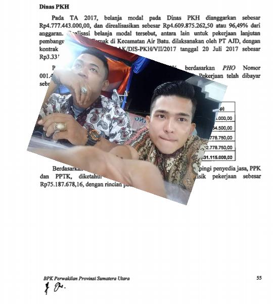 Haail audit BPK, insert foto Adi Chandra Pranata dan Soleh Marpaung.