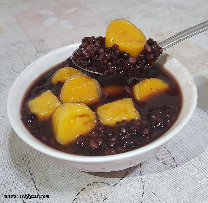 Black glutinuous rice taro balls