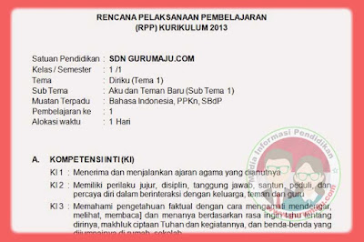 RPP Kelas 1 Tema 1 Kurikulum 2013 Revisi Tahun 2019