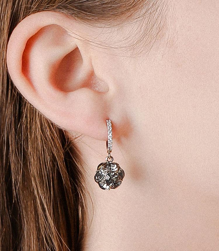 閃亮風巴洛克鋯石耳環