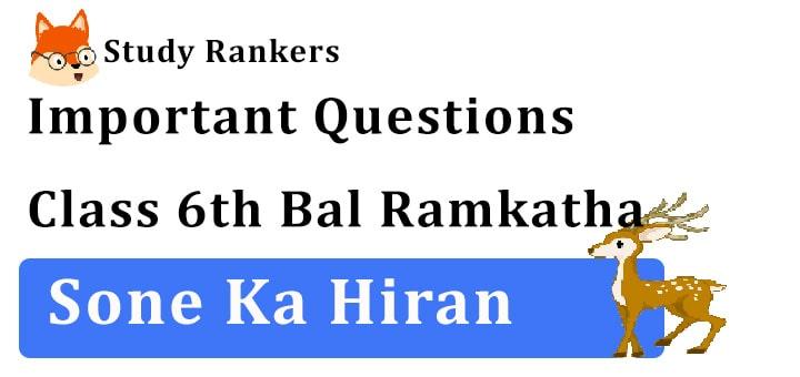 Important Questions for Class 6th सोने का हिरण Hindi