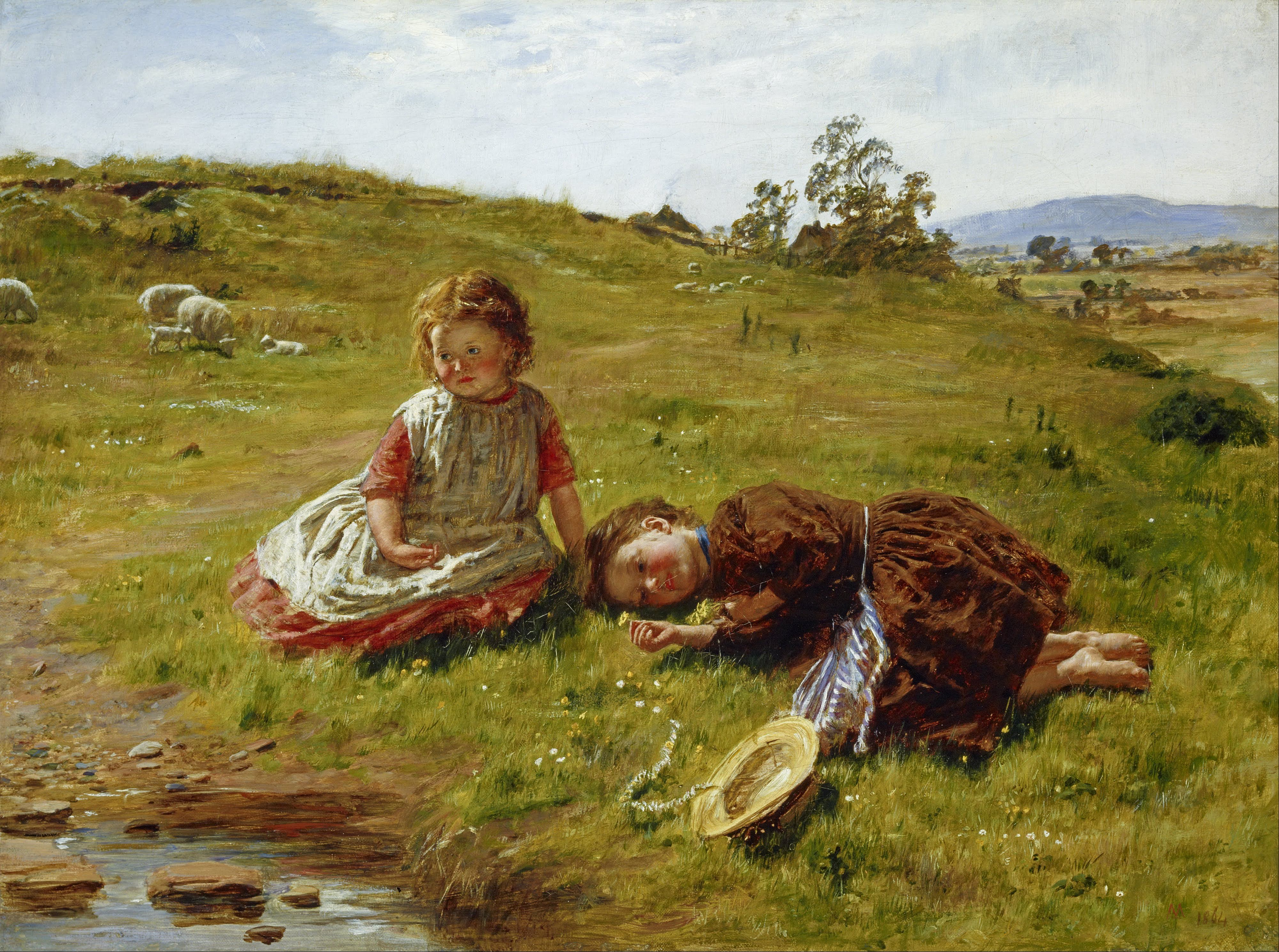 Children Near the Spring Brook on the Pasture
