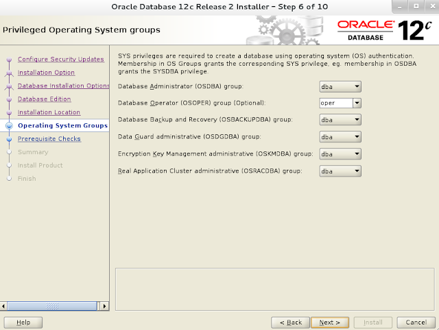 Installing oracle database 12c r2 on Linux wizard screen 6