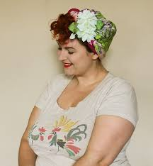 how to wear a hair flower with a vintage scarf turban