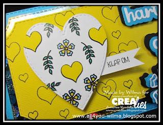 Het om te klappen hart te zien op de slimline-felicitatiekaart. The flipping heart seen on the slimline-congratulation card.