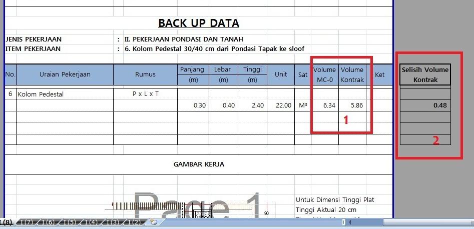 Format Back Up Data Hitung Volume Bangunan Konstruksi Gedung Panduan Sudut Sipil