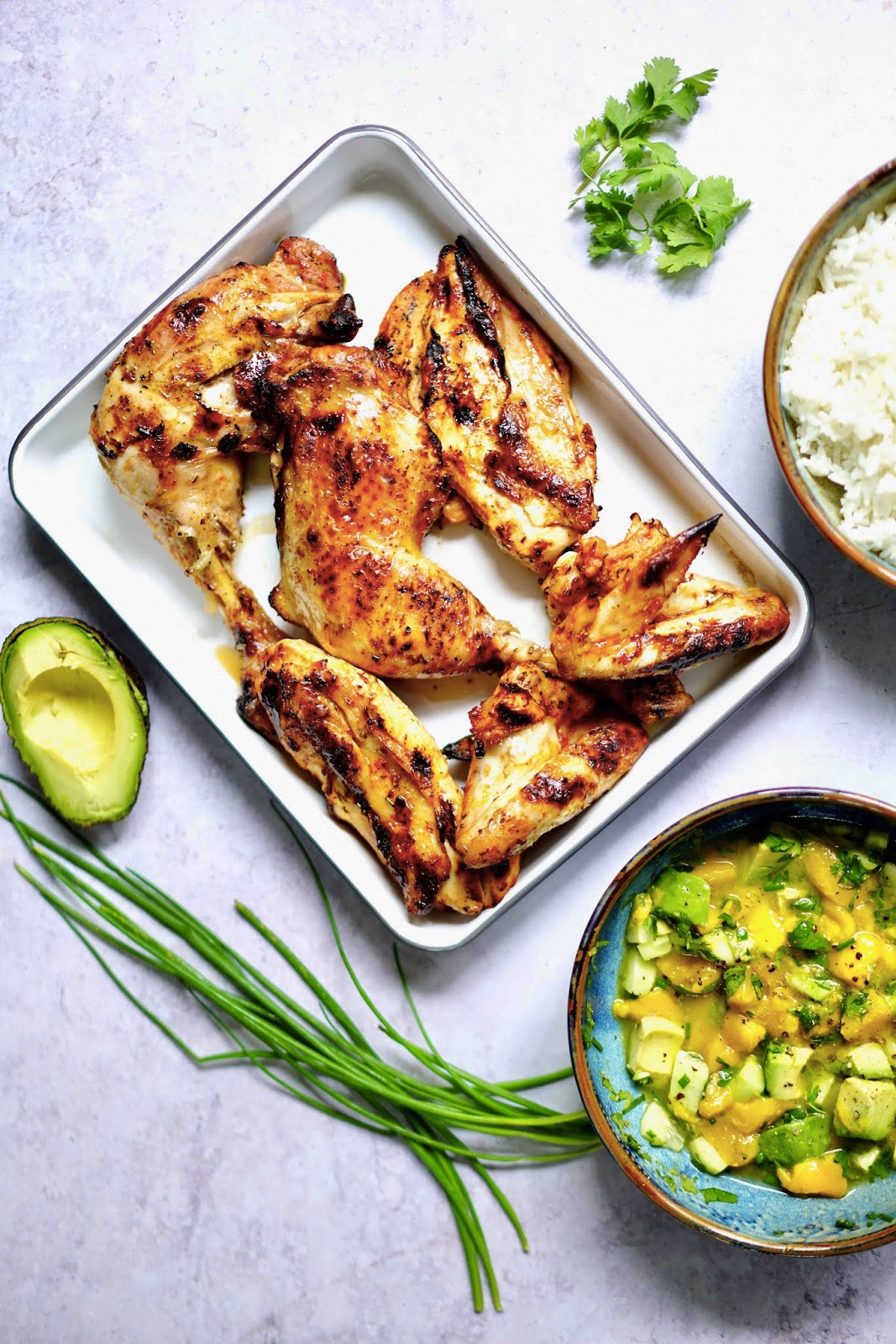 BBQ Jerk chicken , mariande poulet , ketchup , recette americaine