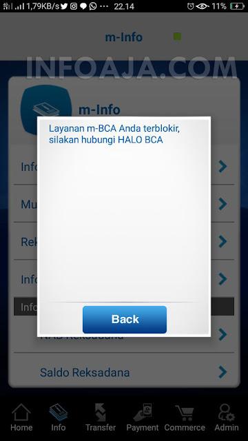 Layanan M-BCA Terblokir