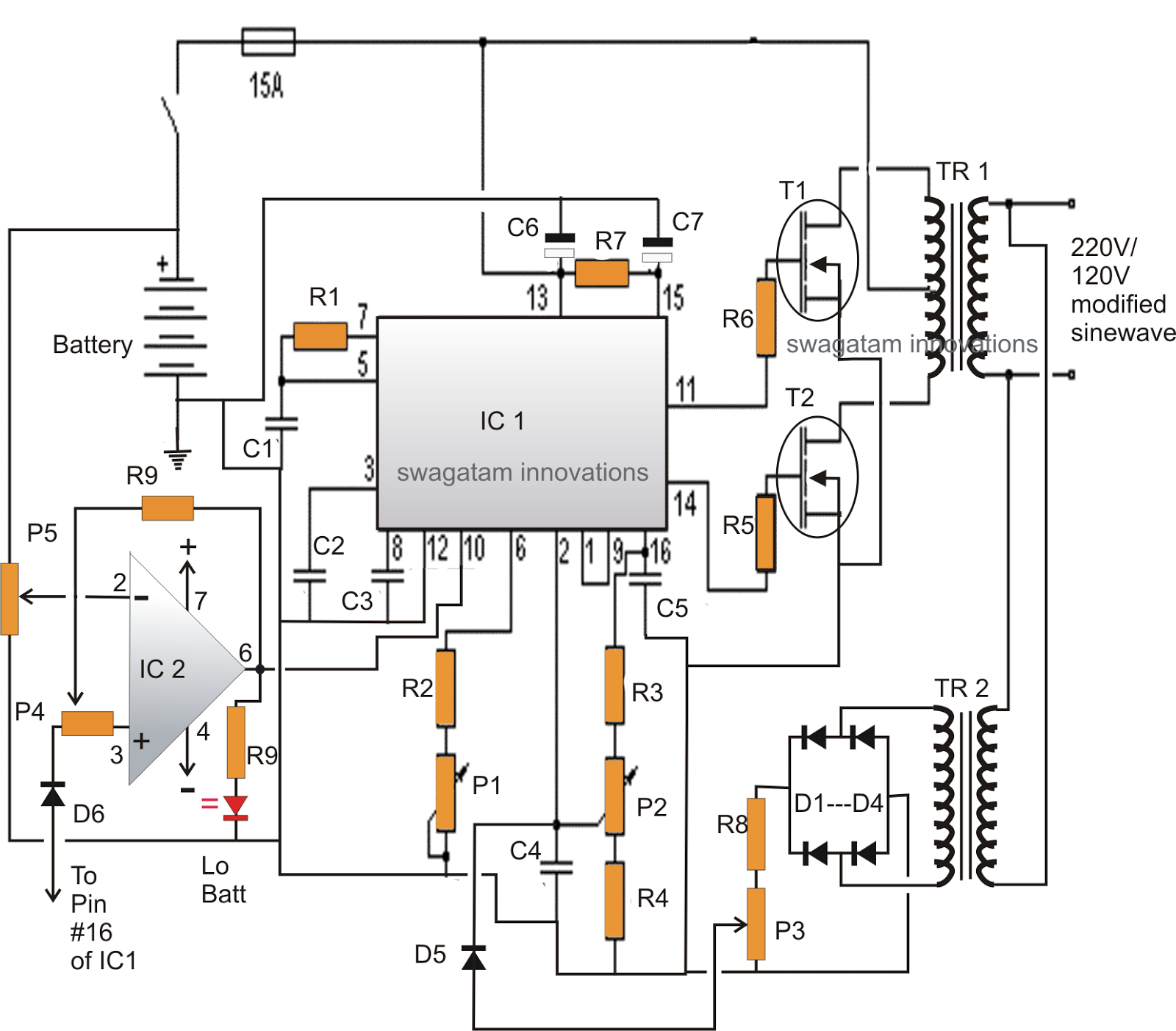 Modified Sine Wave Inverter Circuit Using Ic With