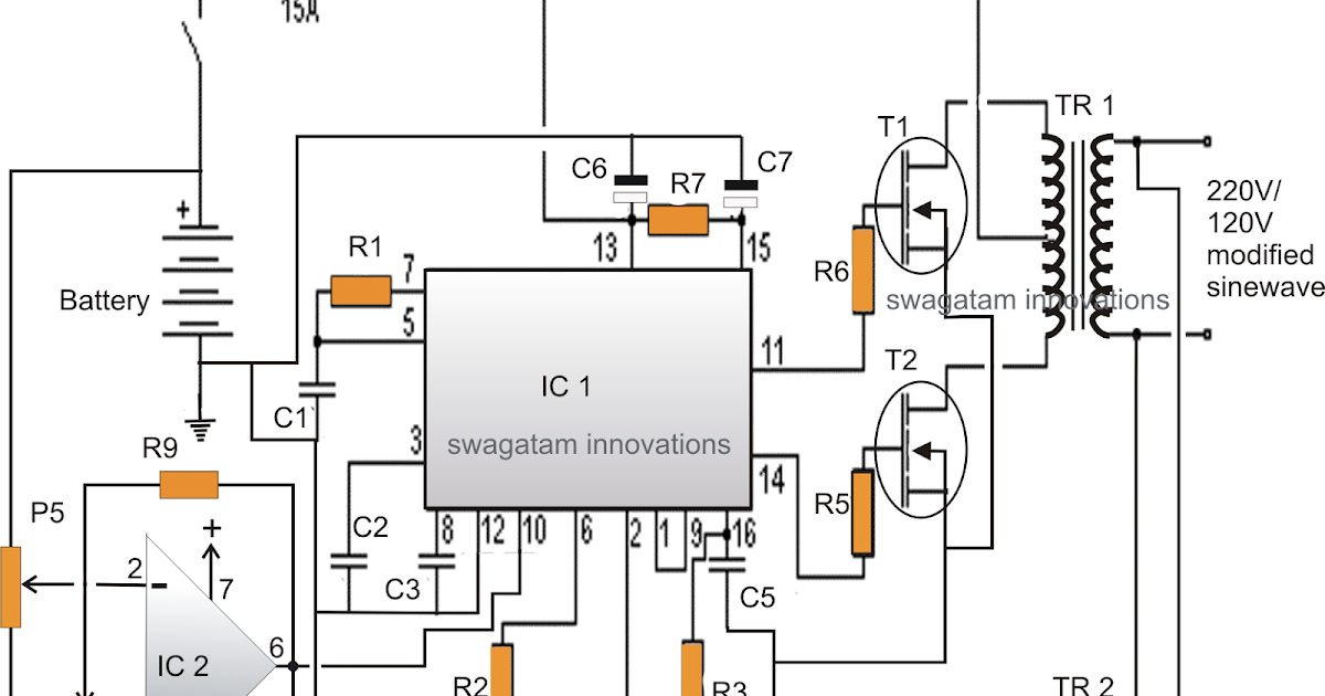 Modified Sine Wave Inverter Circuit Using IC 3525, with