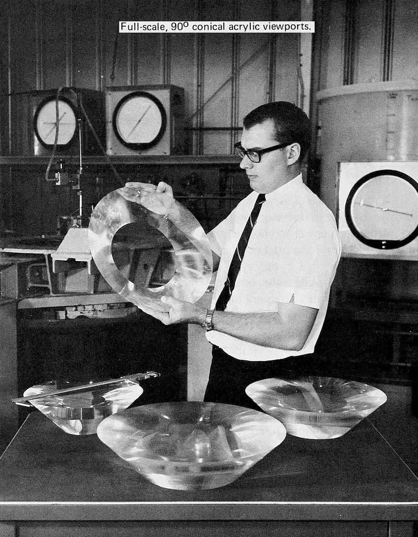 conical acrylic viewports, 1970 photo