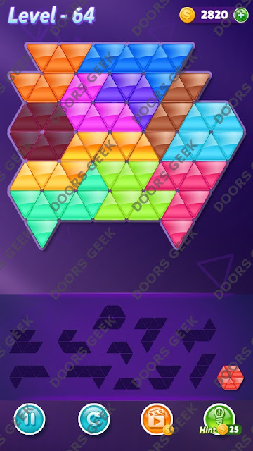 Block! Triangle Puzzle Grandmaster Level 64 Solution, Cheats, Walkthrough for Android, iPhone, iPad and iPod