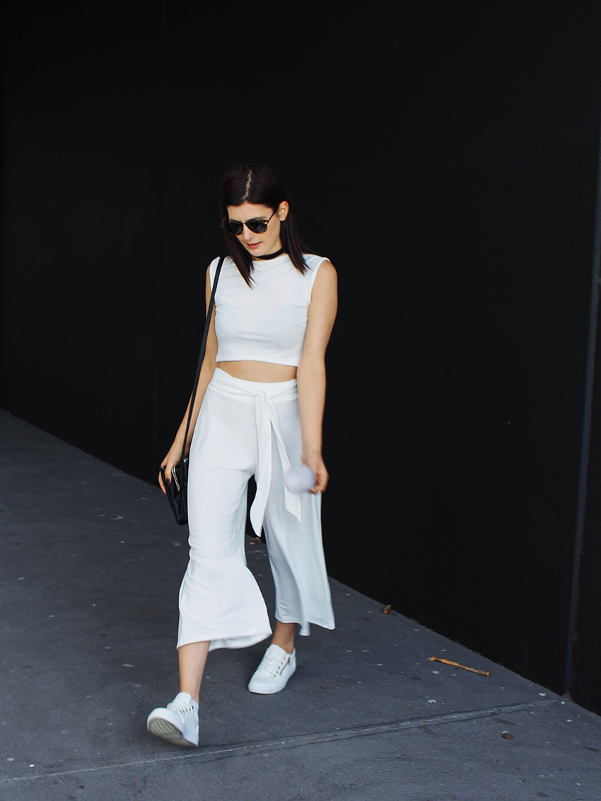 boohoo, boohoo bloggers, australian bloggers, melbourne bloggers, melbourne white night, all white party outfit, white outfits, all white outfit, velvet choker, karen walker sunglasses, helter skelter, karen walker, ivana, ivana petrovic, likeaharte, like a harte, street style, fashion week style, nyfw 2016, pfw 2016, lfw 2016, australian street style, melbourne street style, culottes, how to wear culottes, how to wear culottes with flats, white sneakers, vegan adidas superstars, fake adidas superstars, crop tops, how to wear boxy crops,