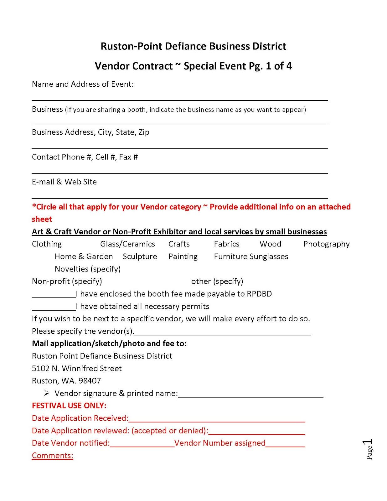 RUSTON FAMILY FAIR Vendor Contract