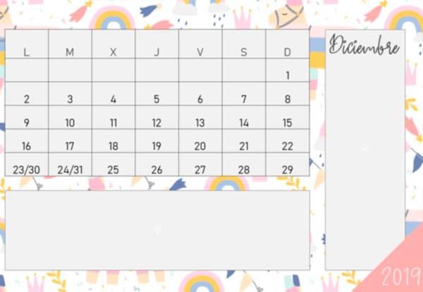 Calendario 2019 gratis en pdf con diseños infantiles