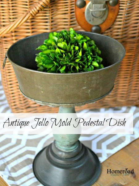 Vintage pedestal dish with boxwood ball