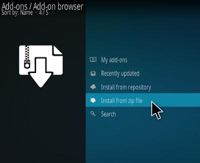 أنقر فوق تثبيت ملف مضغوط (install from zip file )