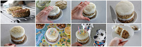 Step-by-step instructions for frosting a dog birthday cake with mashed potato instead of icing.