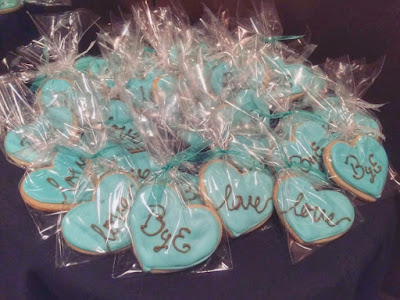 Parisian Breakfast at Tiffany's Bridal Shower Decoration - dessert table heart Cookies