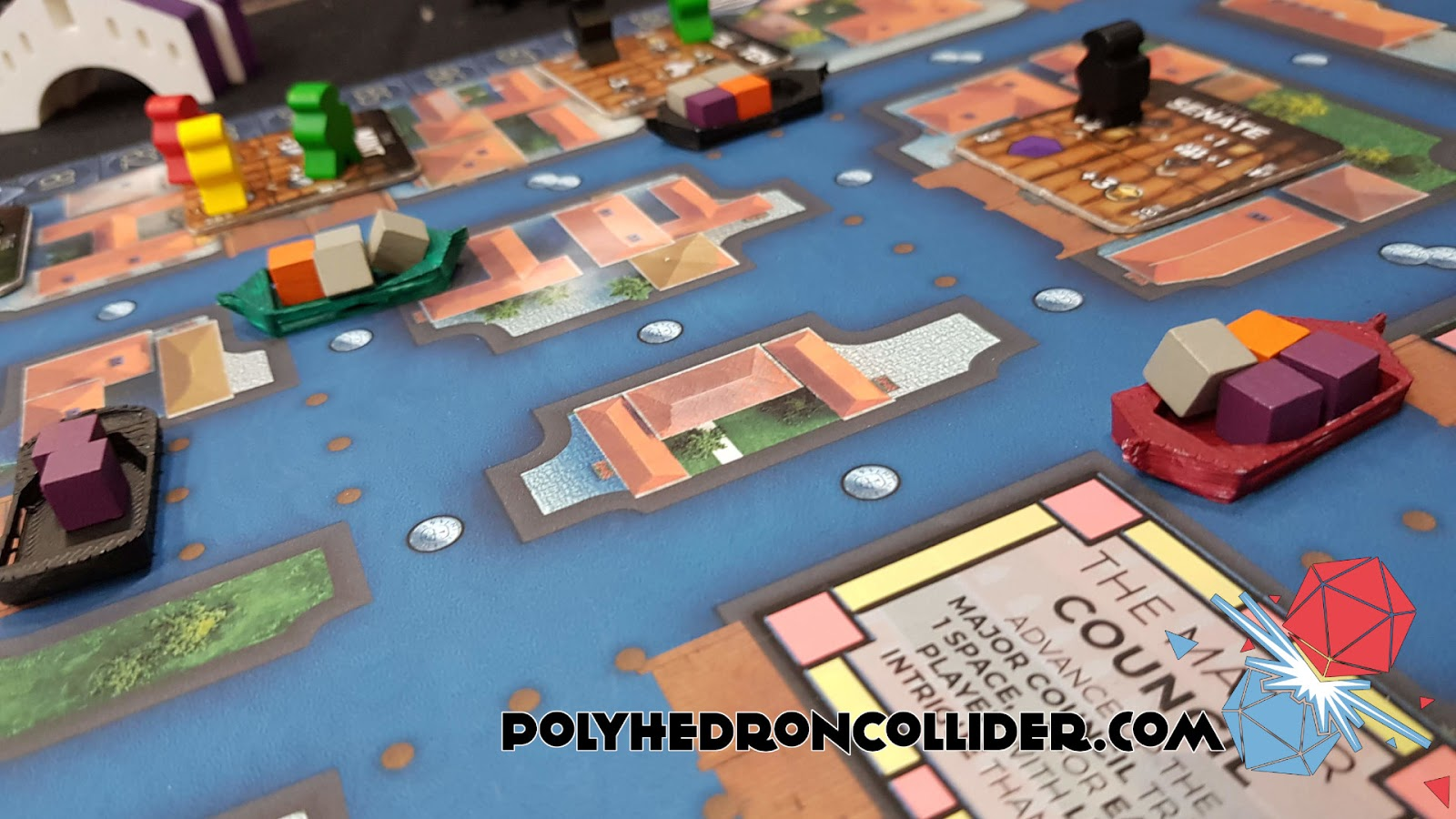 Kickstarter Highlight Venice Board Game in play close up at UK Games Expo