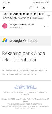 Cara Verifikasi Rekening Bank Google Adsense dari Hp Android