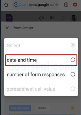 langkah 5 mengatur batas waktu hp formLimiter