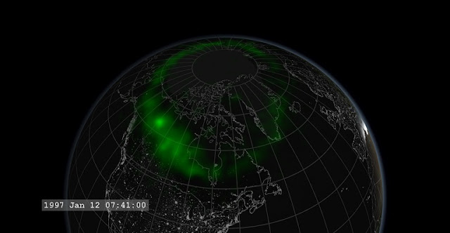 A slight brightening in northwestern Canada signals the start of the substorm. Credit: NASA