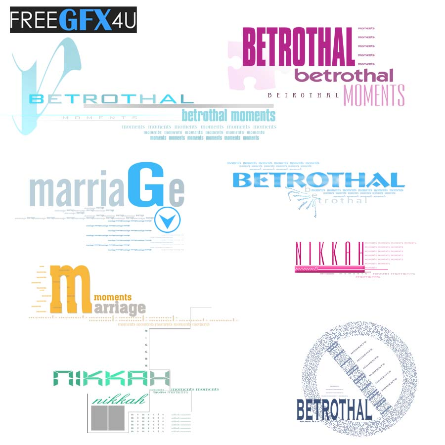 Betrothal, Marriage, Nikah, Moments Text PSD Layers
