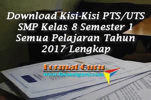 Download Kisi-Kisi PTS/UTS SMP Kelas 8 Semester 1 Semua Pelajaran Tahun 2017 Lengkap