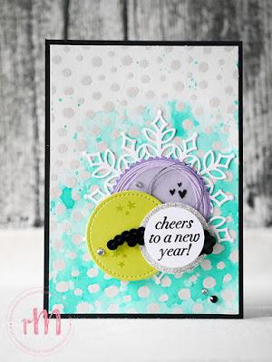 Stampin' Up! rosa Mädchen Kulmbach: Neujahrskarte im Aquarelllook mit Cheers to the year, Thinlits Schneegstöber und Framelits Stickmuster