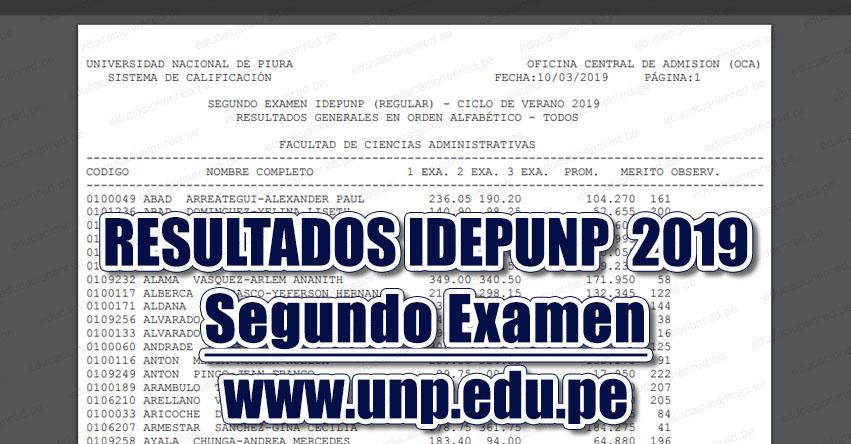 Resultados IDEPUNP UNP 2019 (Examen 10 Marzo) Resultados Segundo Examen - Ciclo Enero Marzo (Sullana - Talara - Paita - Sechura - Chulucanas - Tambogrande - Piura - Ayabaca - Huancabamba) Universidad Nacional de Piura - www.unp.edu.pe | www.admisionunp.com