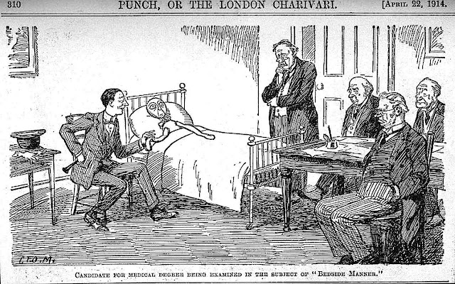 a George Morrow cartoon 1914 , Candidate for medical degree being examined in the subject of bedside manner