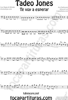 Partitura de Tadeo Jones en Clave de Fa en Cuarta línea Partituras de Trombón, Chelo, Fagot, Tuba Elicón, Bombardino, Fagot... Sheet Music for Trombone, Cello, Bassoon, Tube, Euphonium in Bass Clef F Music Scores by Juan Magan & Belinda