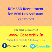 RSMSSB Recruitment for 1896 Lab Assistant Vacancies