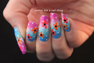 gradient polka dot flower nail art design ideas