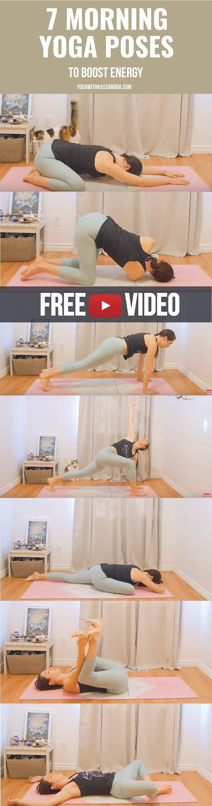 This sequence is a great way to wake up and stretch the whole body first thing in the morning. As no props are used, you can do it wherever you are.
