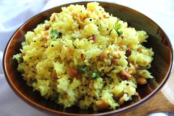 Yellow Lemon Rice with Fried Cashews