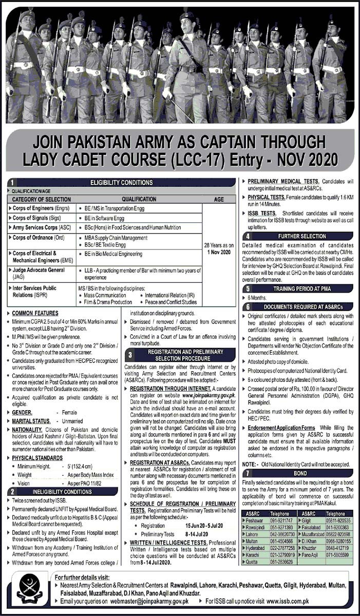 Jobs in Pakistan Army as Lady Captain June 2020