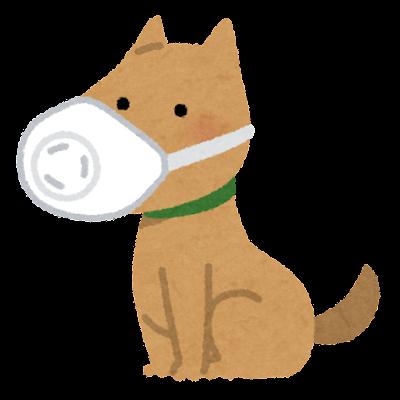 マスクを付けた犬のイラスト