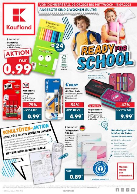 KAUFLAND  Prospekt - Angebote  ab 02-09.09 2021 → Ready for SCHOOL | NEUEN ONLINE MARKETPLATZ DEALS