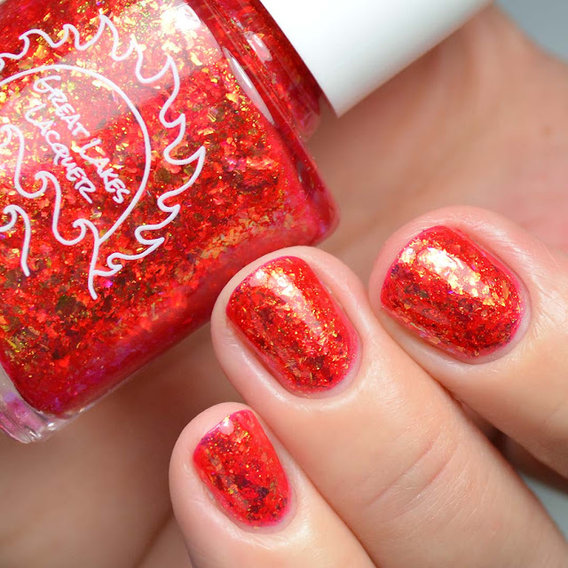 red flakie nail polish swatch