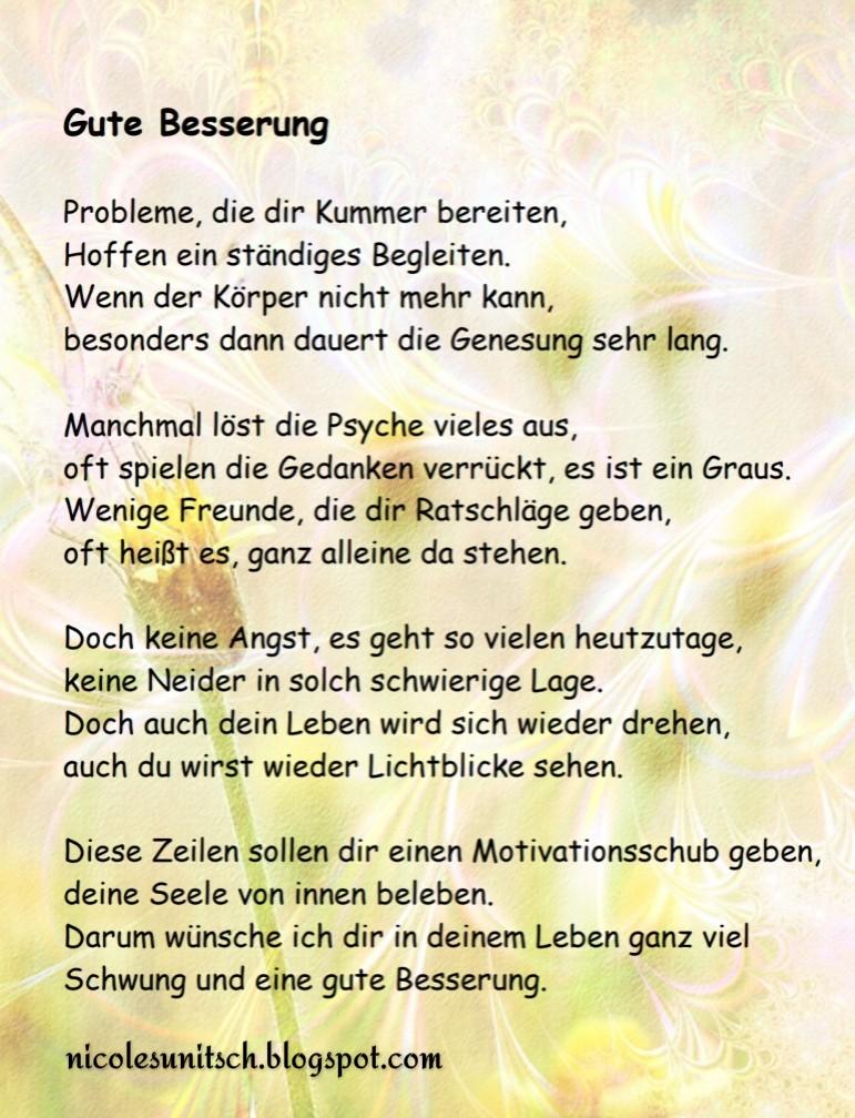 Gedichte Von Nicole Sunitsch Autorin Gute Besserung Gedicht